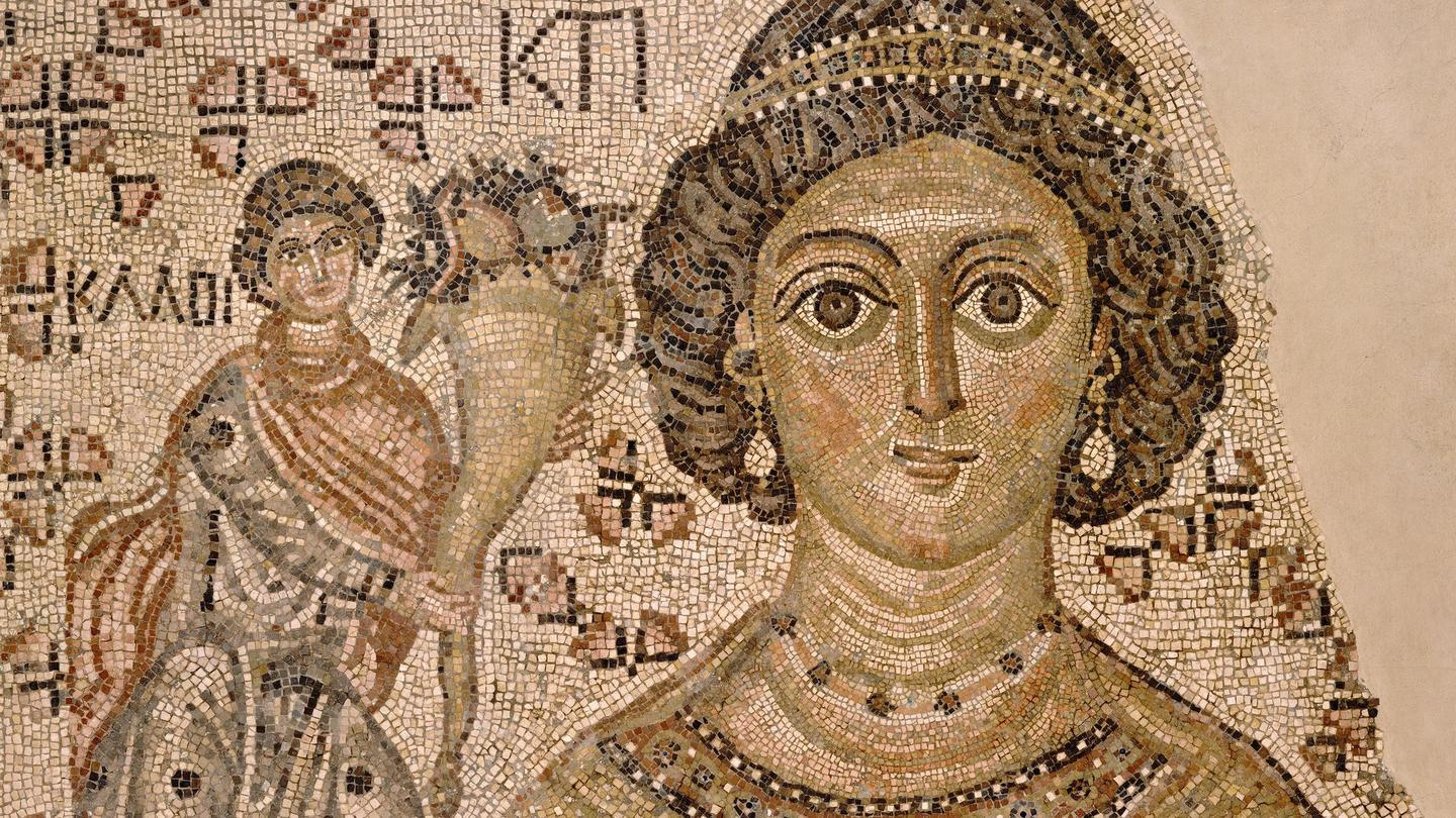 Fragment of a Floor Mosaic with a Personification of Ktisis, c. 500-550