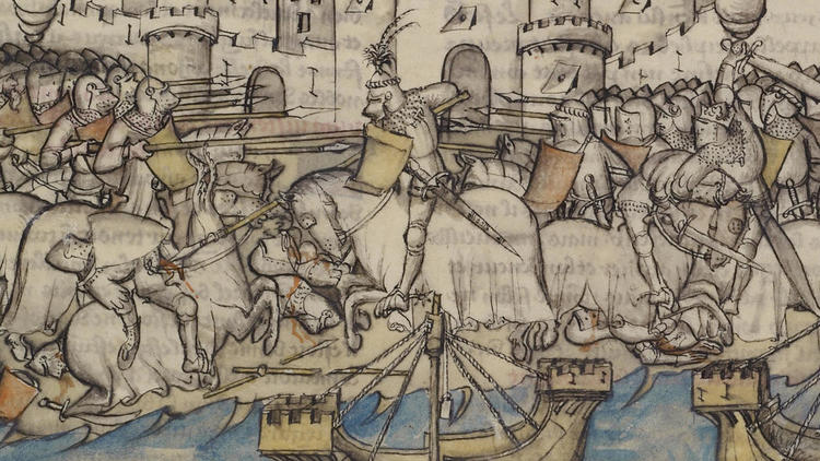 Illuminated Manuscript depicting the Battle from the Trojan War